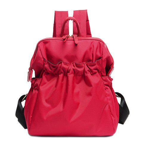Unique Simple Solid Colour and Nylon Design Backpack For Women - RED  Mobile