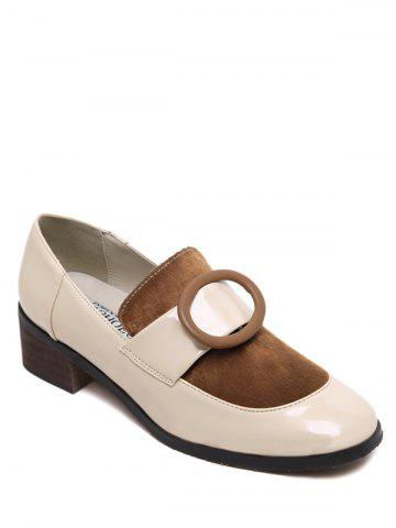Latest Preppy Splice and Round Buckle Design Pumps For Women