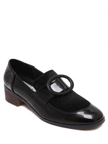 Outfit Preppy Splice and Round Buckle Design Pumps For Women BLACK 38