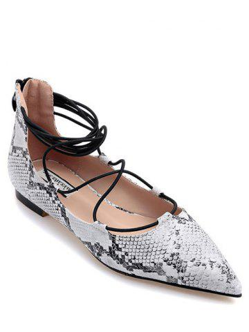 Outfit Stylish Snake Print and Criss-Cross Design Flat Shoes For Women