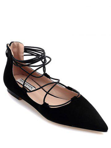 Buy Trendy Black and Criss-Cross Design Flat Shoes For Women