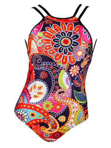 Outfit Charming Abstract Floral Print Backless Women's Swimwear COLORMIX 2XL
