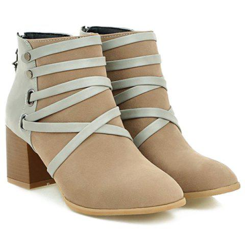 Affordable Trendy Suede and Cross-Strap Design Ankle Boots For Women APRICOT 39