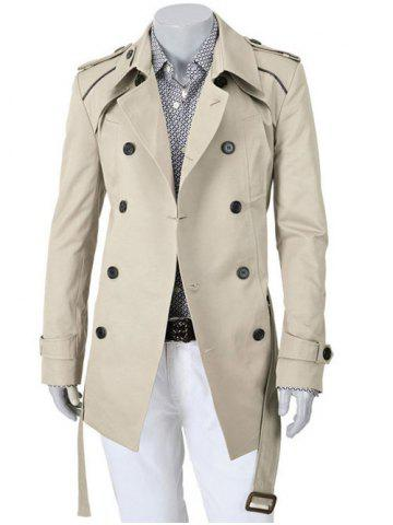 Epaulet Design Turn-Down Collar Double Breasted Slimming Long Sleeve Coat For Men - Off-white - Xl