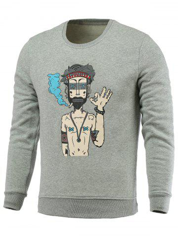 Cheap Cartoon Man Print Fleece Round Neck Long Sleeve Sweatshirt