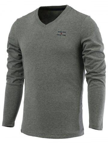 Unique Letter Embroidery Long Sleeve V-Neck T-Shirt DEEP GRAY 3XL