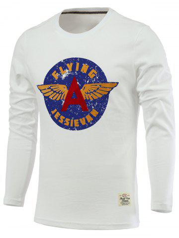 Store Letters and Wings Print Long Sleeve Round Neck T-Shirt