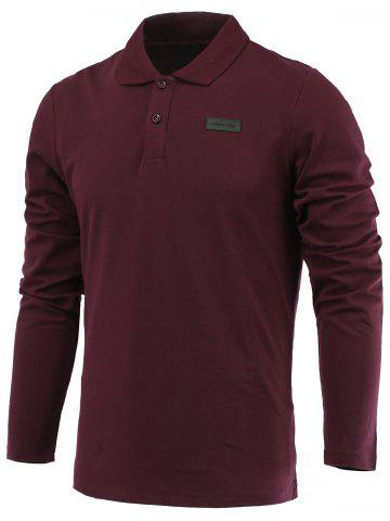 Affordable Applique Long Sleeve Turn-Down Collar Polo T-Shirt WINE RED 3XL