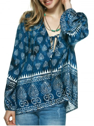 Sale Elegant Plunging Neck Tribal Print Blouse