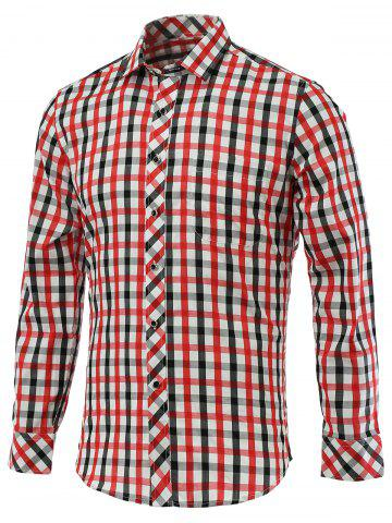 Discount Color Block Gingham Turn-Down Collar Long Sleeve Shirt