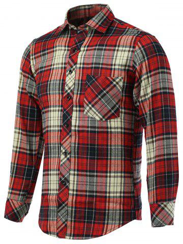 Affordable Tartan Pockets Design Turn-Down Collar Long Sleeve Shirt