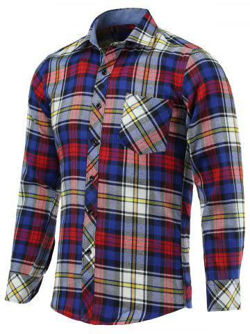 Buy Color Block Checked Pockets Turn-Down Collar Long Sleeve Shirt