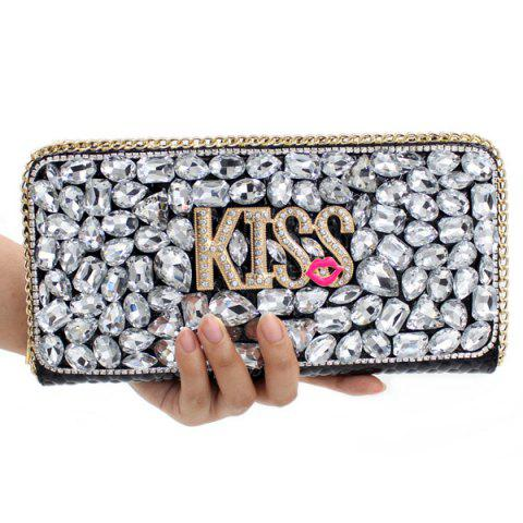Unique Trendy Letter and Rhinestone Design Evening Bag For Women - SILVER  Mobile
