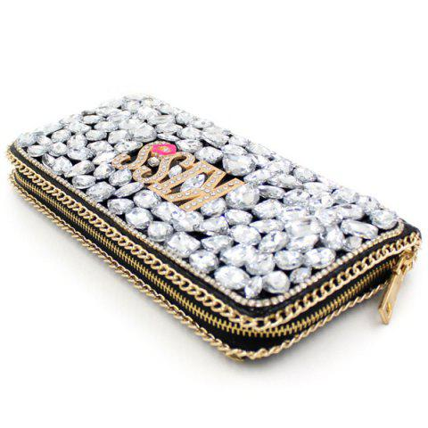 Outfits Trendy Letter and Rhinestone Design Evening Bag For Women - SILVER  Mobile