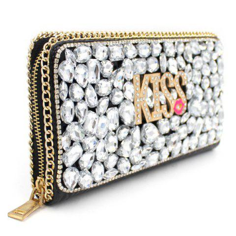 Chic Trendy Letter and Rhinestone Design Evening Bag For Women - SILVER  Mobile