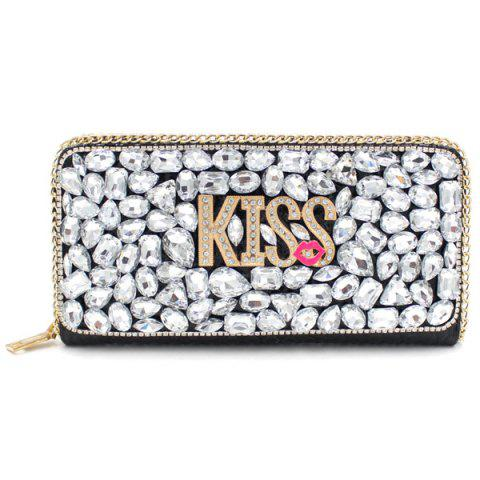 Latest Trendy Letter and Rhinestone Design Evening Bag For Women - SILVER  Mobile