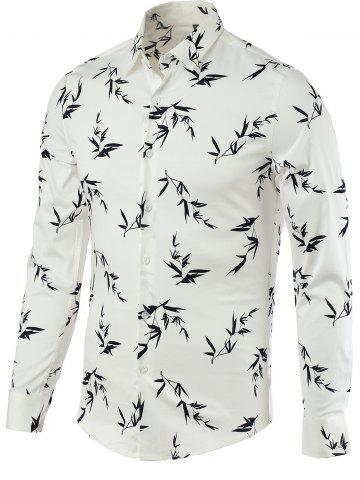 Latest Leaves Print Print Spliced Turn-Down Collar Long Sleeve Shirt