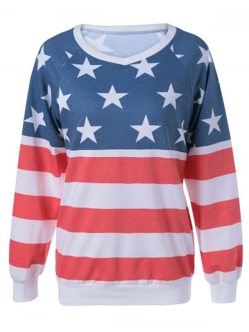 Affordable Long Sleeve Flag Printed T-Shirt