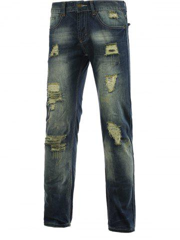 Sale Cotton+Jeans Holes and Cat's Whisker Design Bleach Wash Zipper Fly Denim Pants