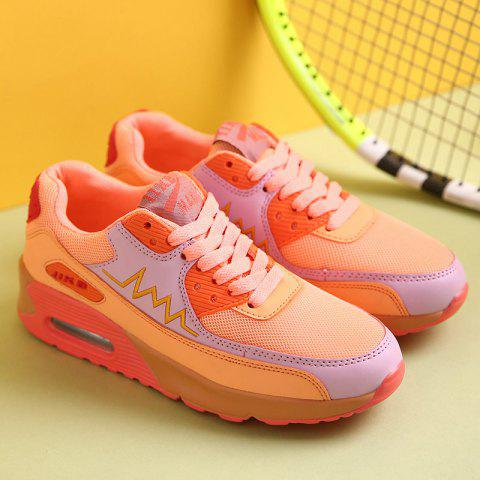 Online Fashion Colour Splicing and Breathable Design Athletic Shoes For Women - 38 ORANGE Mobile