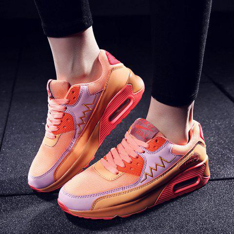 Sale Fashion Colour Splicing and Breathable Design Athletic Shoes For Women - 38 ORANGE Mobile