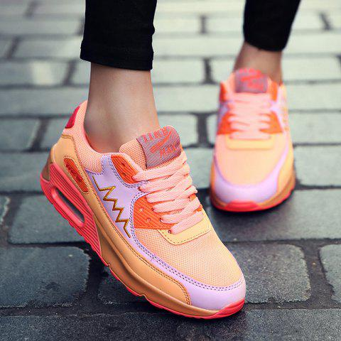 Trendy Fashion Colour Splicing and Breathable Design Athletic Shoes For Women - 38 ORANGE Mobile
