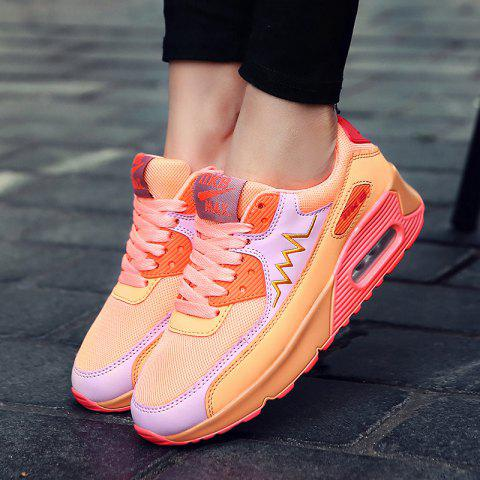 Shop Fashion Colour Splicing and Breathable Design Athletic Shoes For Women - 38 ORANGE Mobile