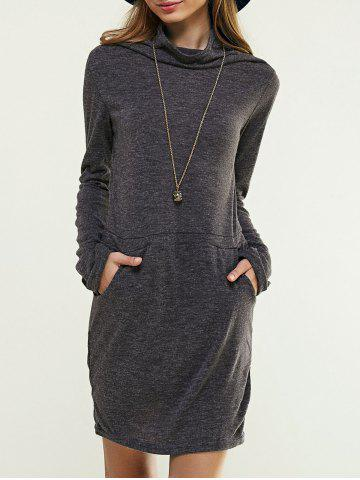 Fashion Long Sleeve Cowl Neck Solid Color Dress DEEP GRAY XL