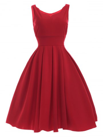 Red Xl Vintage Sweetheart Neck Red Pleated Dress | RoseGal.com