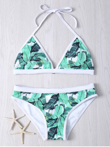 Halter Leaf Printed Bikini Set - GREEN 2XL