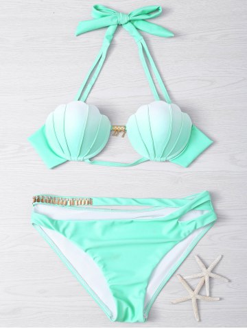 Store Halter Gradient Color Hollow Out Women's Bikini Set