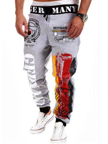 Discount Loose Fit Stylish Lace-Up Splash-Ink Letters Print Beam Feet Polyester Sweatpants For Men LIGHT GRAY L