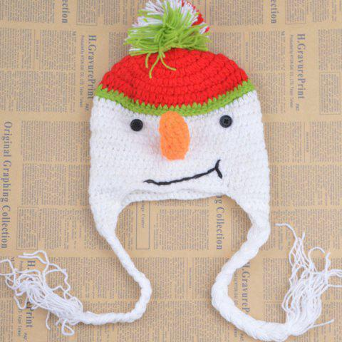 Stylish Cute Snowman Shape Crocheting Knitted Hat For Kids - White