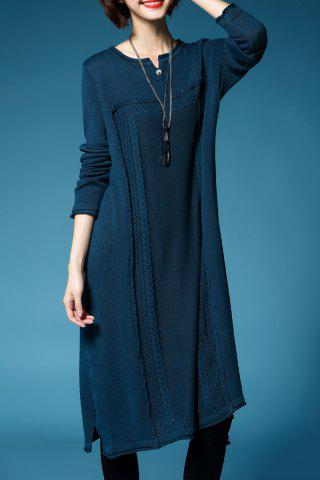Outfits Cable Knit Midi Sweater Dress LAKE BLUE ONE SIZE(FIT SIZE XS TO M)