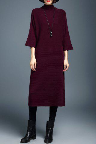 Online Mock Neck Batwing Sleeve Sweater Dress