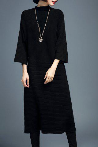 Outfits Mock Neck Batwing Sleeve Sweater Dress - M BLACK Mobile