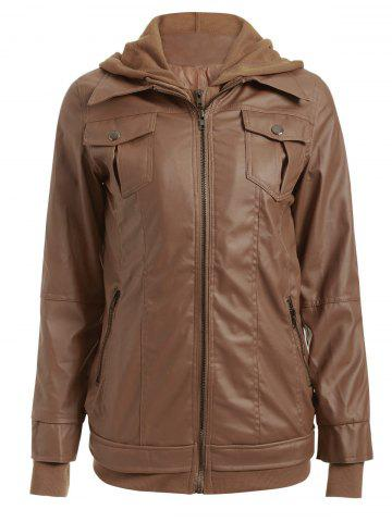 Outfit Flap Pockets Hooded Faux Leather Jacket