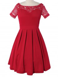 Vintage Lace Spliced Pleated Mini Cocktail Dress - RED XL