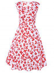 Sweetheart Neck Retro Floral Print Vest Flare Dress