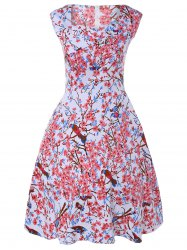 Sleeveless Sweetheart Neck Retro Floral Skater Dress