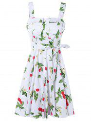 Garden Air Floral and Cherry Print Dress - WHITE 4XL