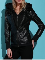 Flap Pockets Hooded Faux Leather Jacket - BLACK