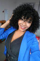 Stylish Medium Afro Curly Side Bang Black Women's Synthetic Hair Wig