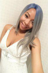 Fashion Medium Straight Side Parting Mixed Color Women's Synthetic Hair Wig