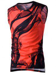 Ink Printing Asymmetric Hem Side Slit Round Neck Tank Top For Men - RED
