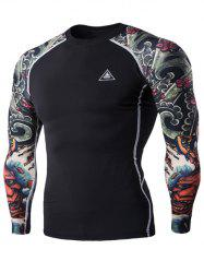 3D Printing Round Neck Long Sleeves Quick-Dry T-Shirt For Men -
