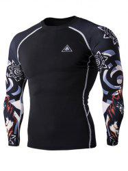 3D Wolf Head Print Round Neck Long Sleeves Compression T-Shirt For Men - BLACK