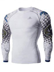 Round Neck 3D Skulls Print Long Sleeves Compression T-Shirt For Men - WHITE