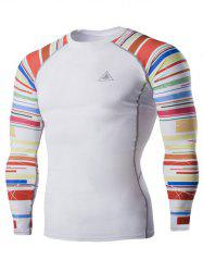 Colorful Stripes Round Neck Long Sleeves Quick-Dry T-Shirt For Men - WHITE