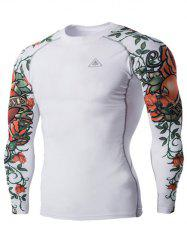 Sports 3D Flower Print Long Sleeves Compression T-Shirt For Men - WHITE